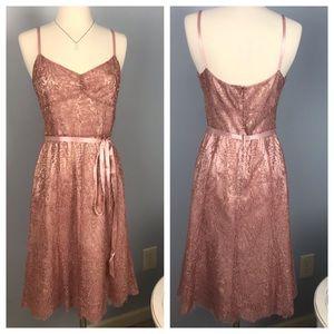 Ann Taylor Pink Lace A-line Dress, Size 6